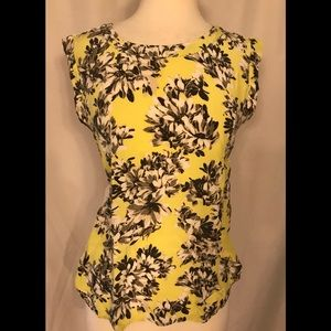 J. CREW yellow flower lace eyelet cap sleeve top
